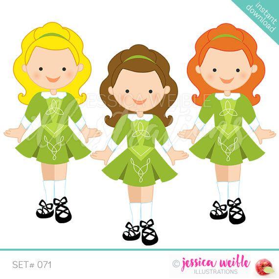 Irish Dancer Clip art Set, Instant Download. Three graphics.