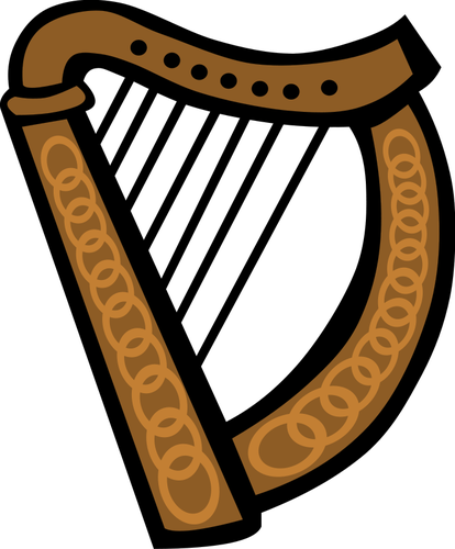 Vector image of Celtic harp.