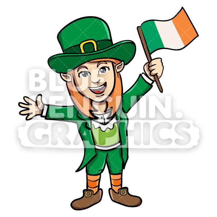 Girly Leprechaun Bringing Irish Flag Vector Cartoon Clipart Illustration.