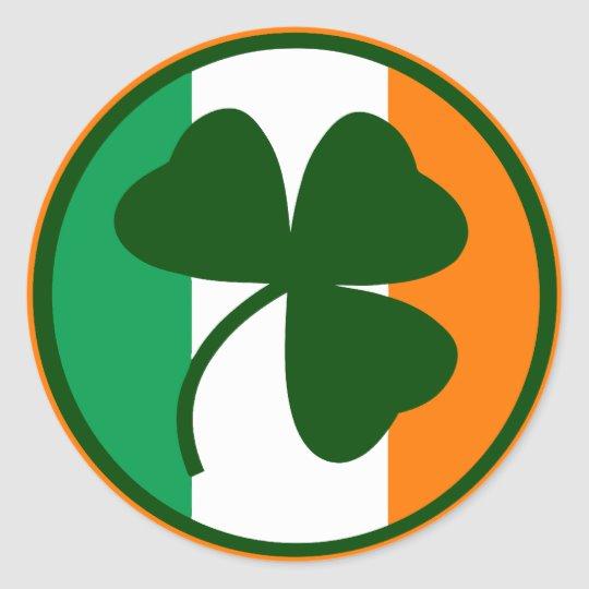 Irish logo, shamrock on flag colors classic round sticker.