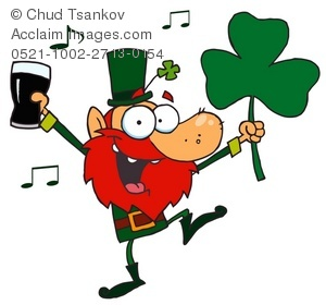 Clipart Illustration of An Irish Man Dancing To Music While Holding.