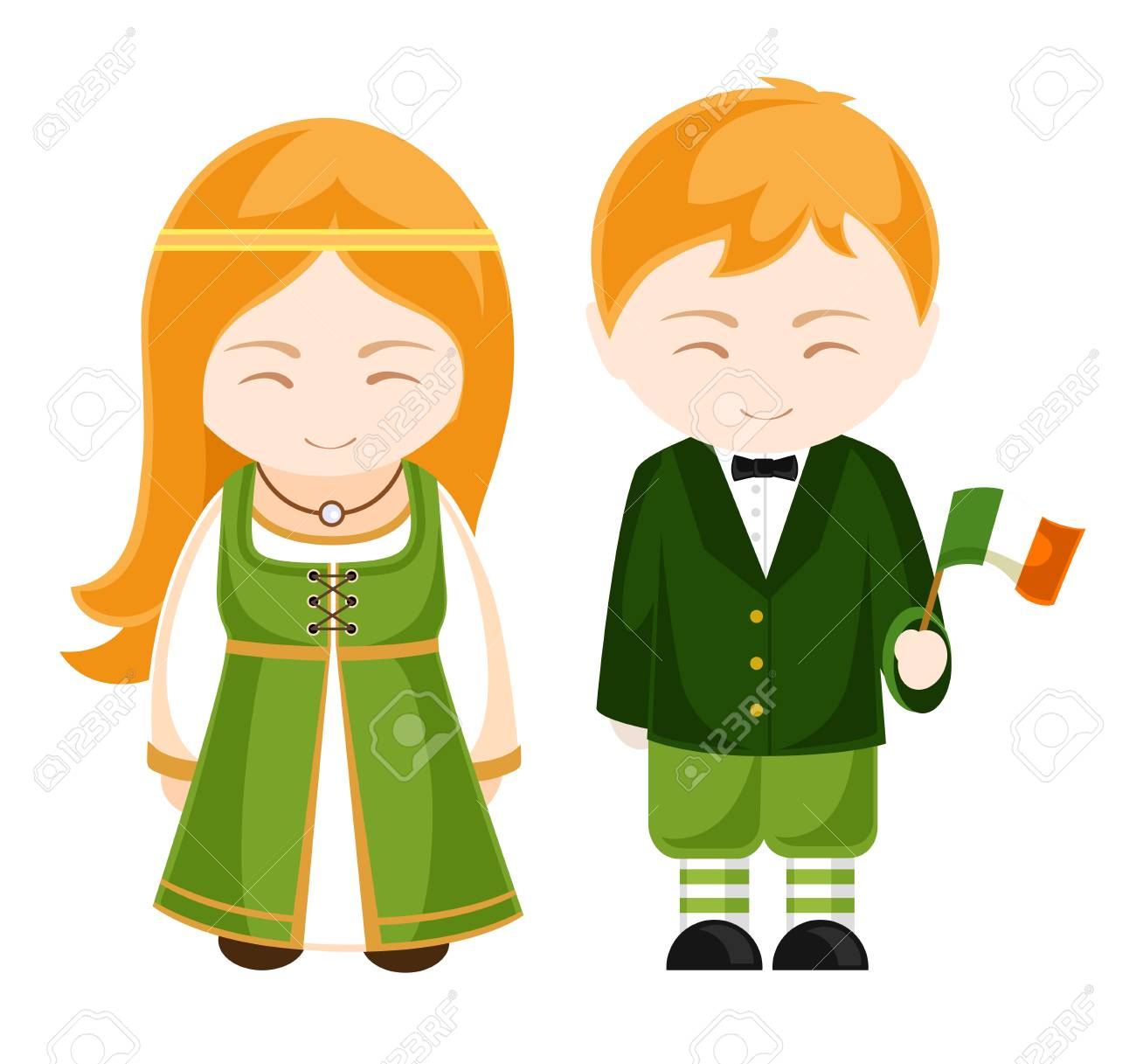Irish girl and boy in national costume. Irish people. Man and...