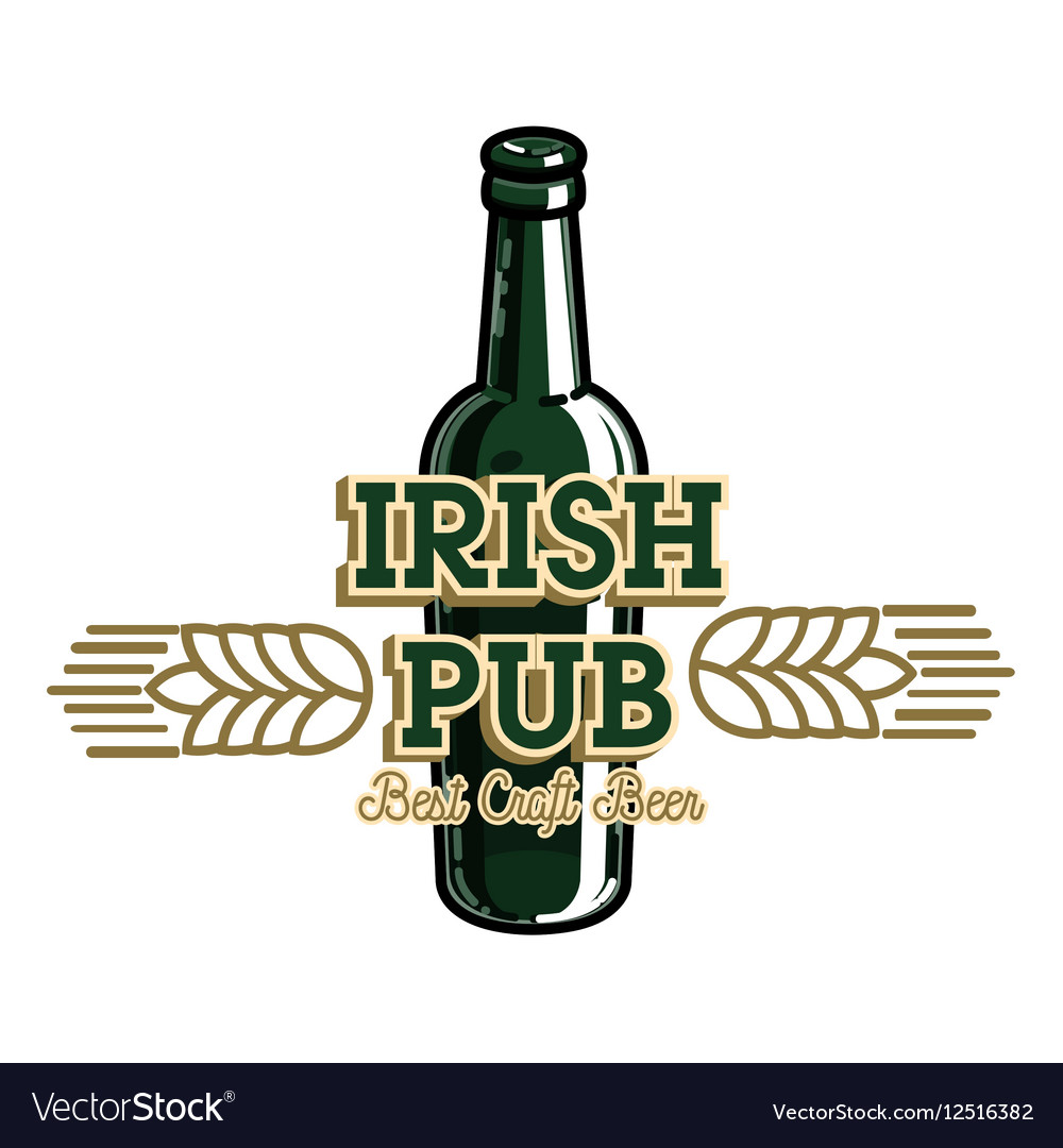 Color vintage irish pub emblem.