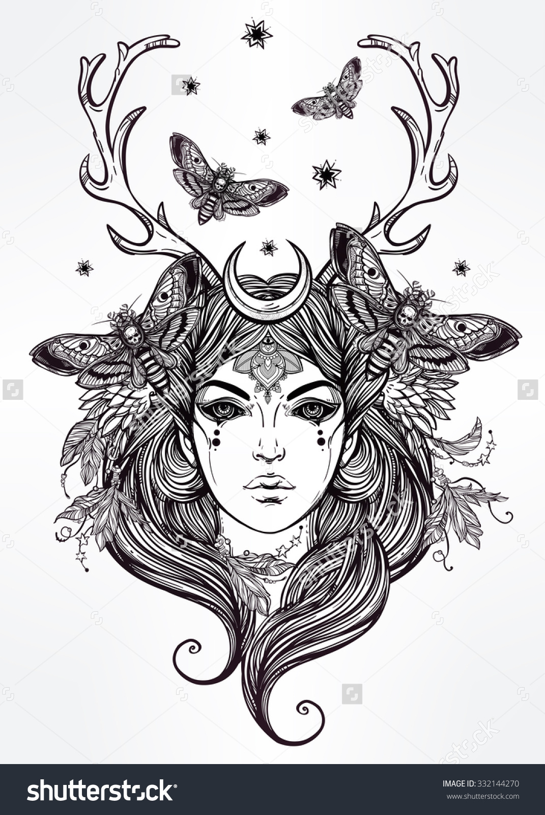 Hand Drawn Beautiful Artwork Banshee Portriat Stock Vector.