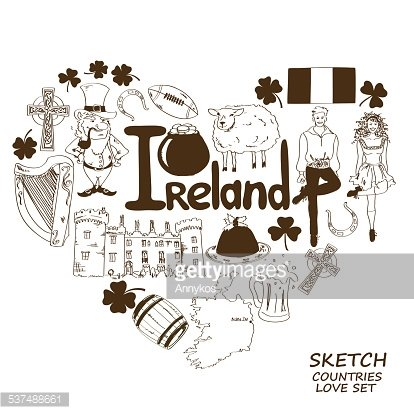 Heart shape concept of Irish symbols Clipart Image.