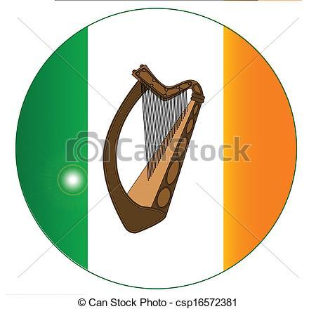 Vettore di bottone, bandiera, irlandese, arpa.
