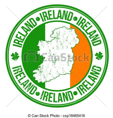 Vector Clip Art of Ireland stamp.