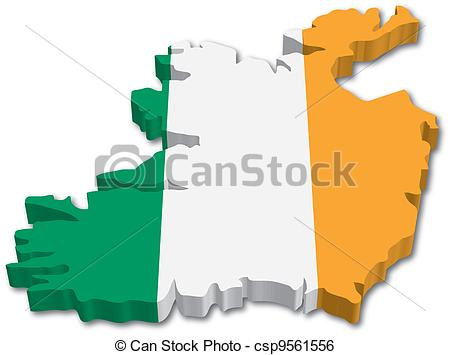 Clip Art Vector of 3D Ireland map with flag illustration on white.