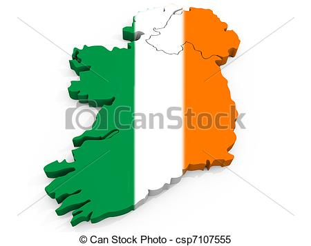 Stock Images of 3D Map of Ireland with Flag, Republic of Ireland.