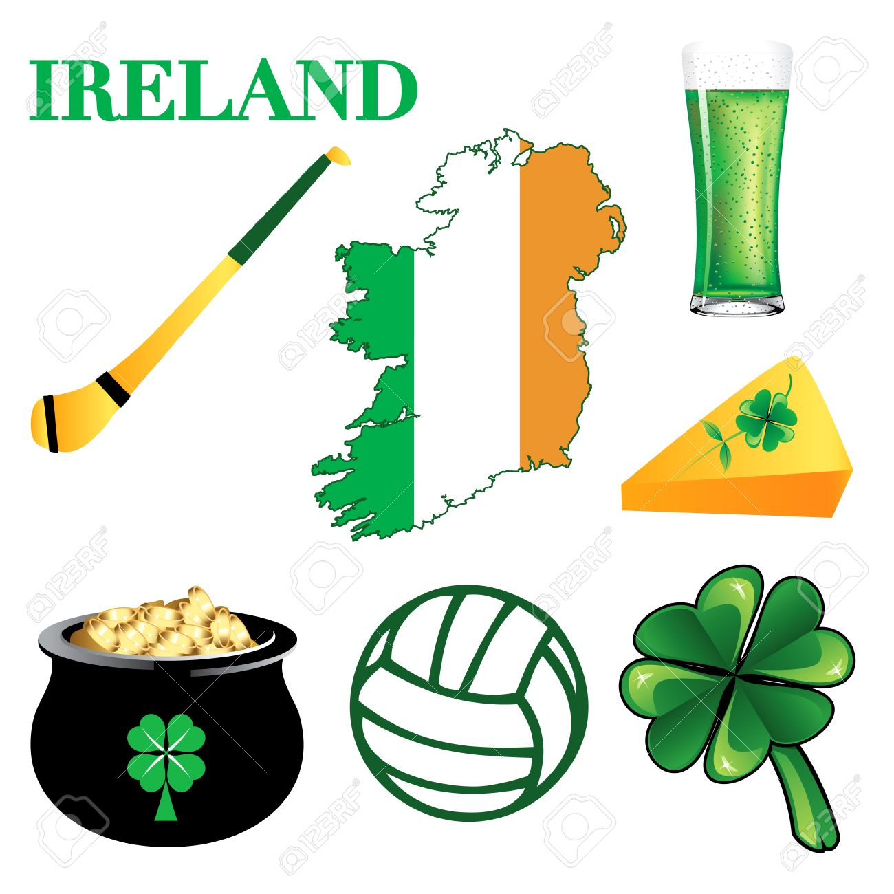 Illustration For Ireland. Irish Button Icons Royalty Free Cliparts.