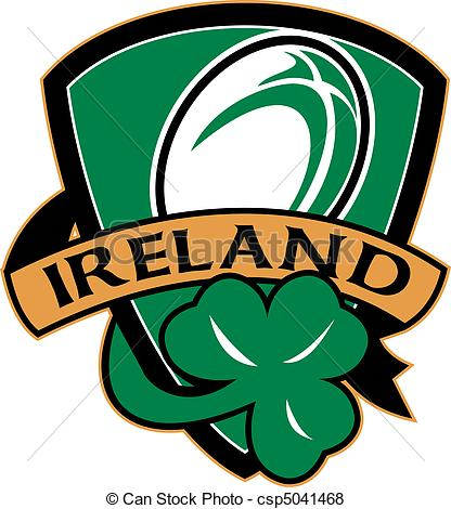 Stock Illustration of rugby ball ireland shield shamrock.