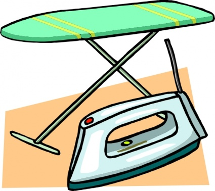 Ironing Board And Iron clip art Clipart Graphic.