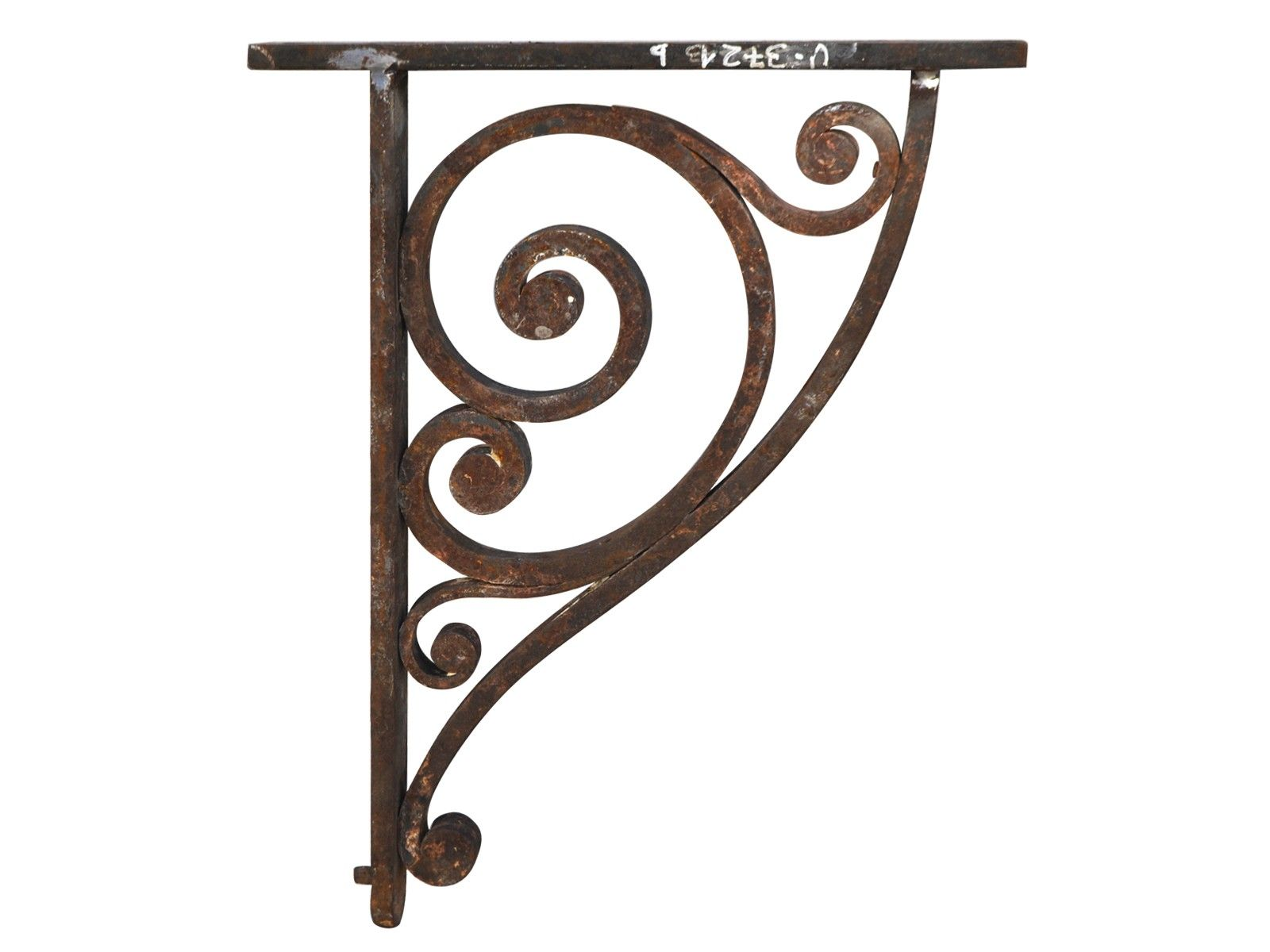 Primitive Rustic Scroll Style Hand Forged Wrought Iron Shelf.