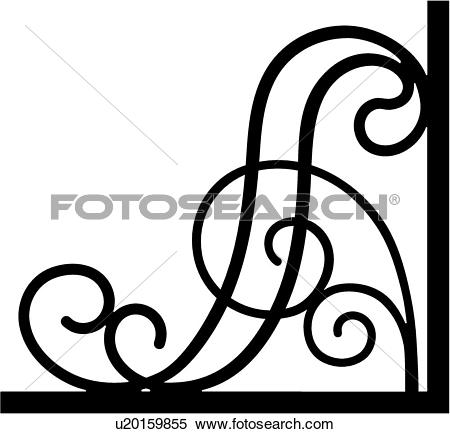 Clipart of , border, bracket, corner, iron, scroll, wrought.