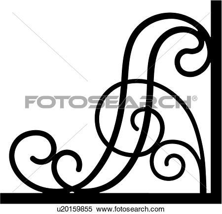 Clipart of , border, bracket, corner, iron, scroll, wrought.
