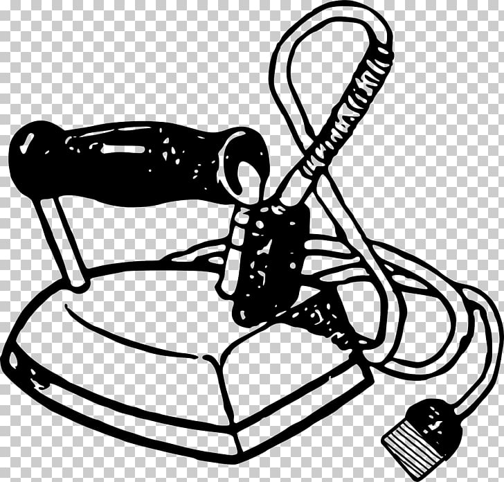 Clothes iron Black and white Clothing , Laundry iron PNG.