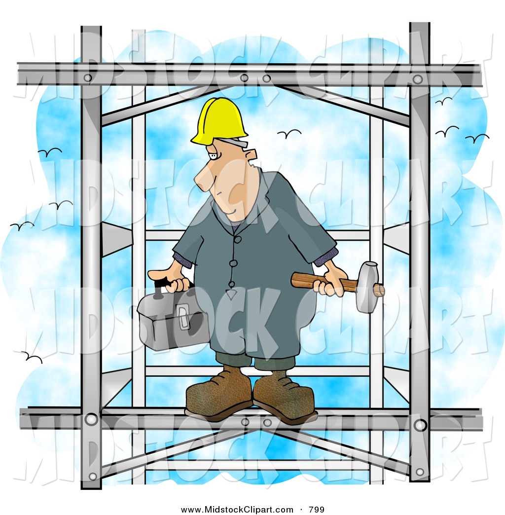 Clip Art of a Male Construction Worker Putting Together the Iron.