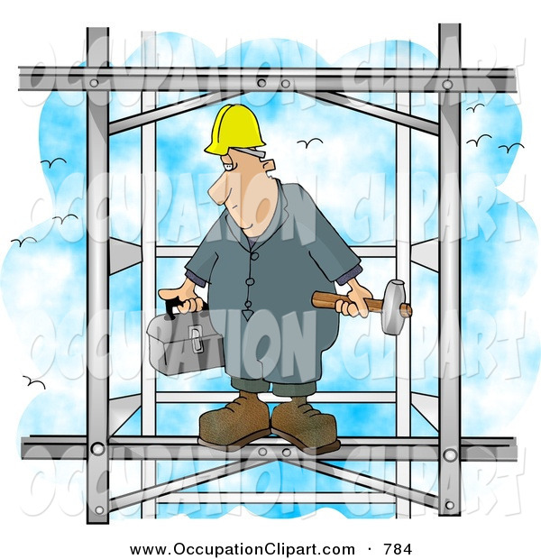 Clip Art of a White Male Construction Worker Putting Together the.