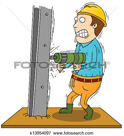 Clip Art of drilling iron bar k13954097.