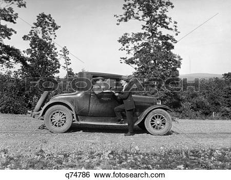 Stock Images of 1930 1930S Retro Automobile Salesman Highway.