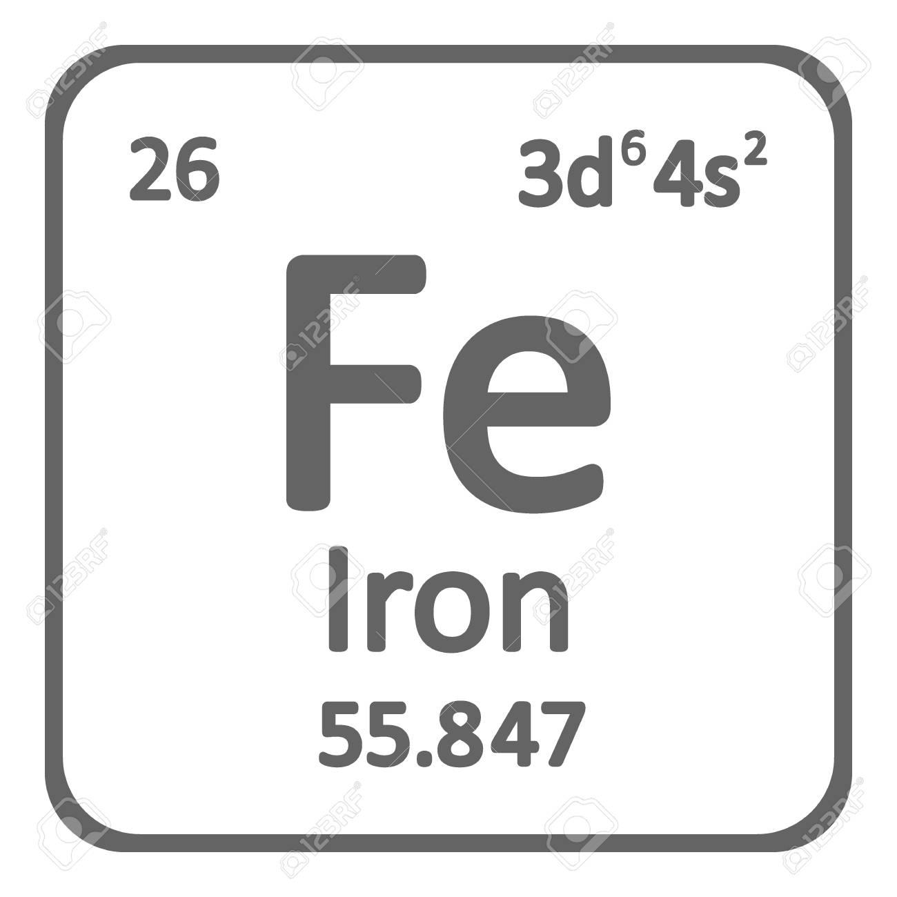Periodic table element iron icon on white background. Vector...