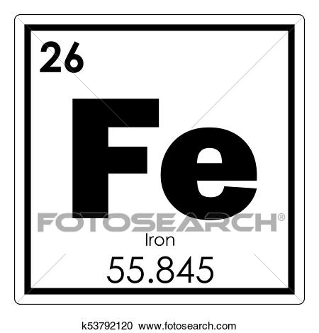 Iron chemical element Clipart.