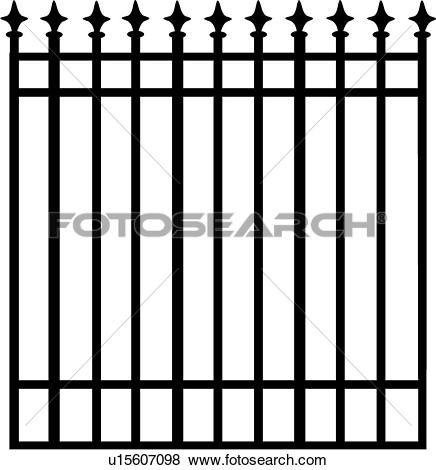Clip Art of , arrows, fence, gate, grill, iron, ironwork, swirls.