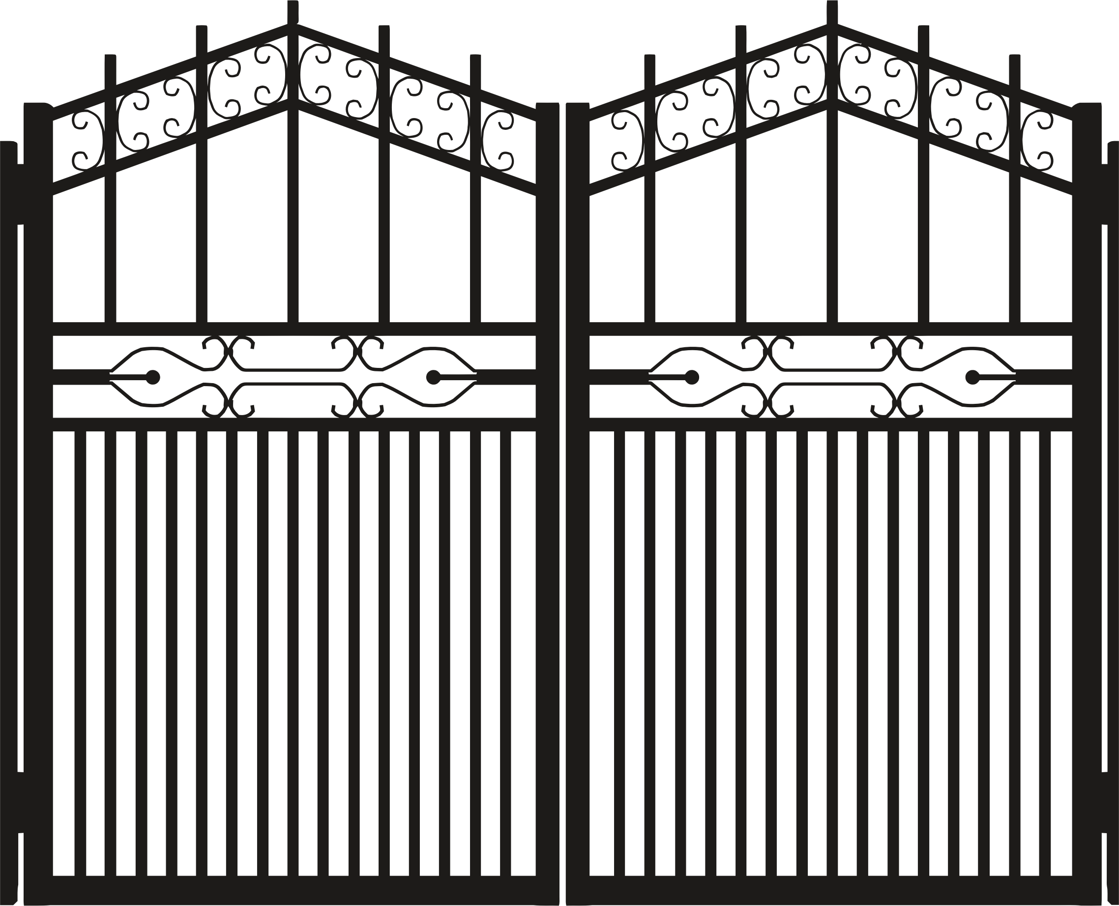 Iron gate silhouette clipart.