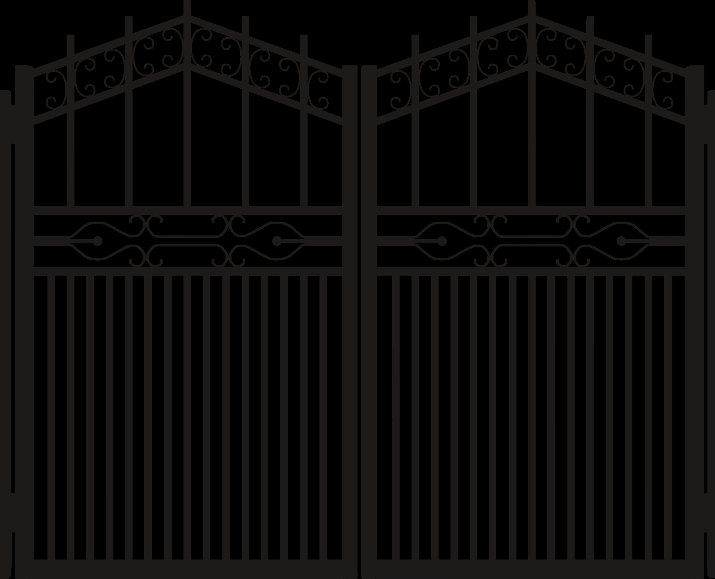 Iron gate silhouette clipart.