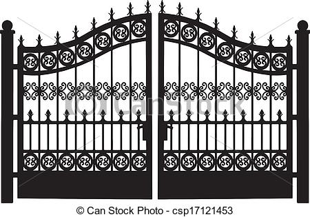 Clipart Vector of Openwork Steel Gate.