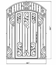 stock vector : Wrought Iron Gate, Door, Fence, Window, Grill.