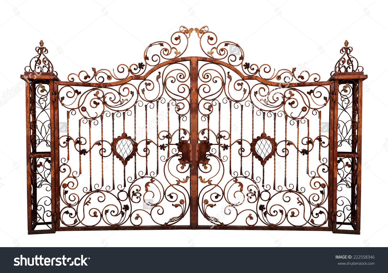 Old Rusty Gate Isolated On White Stock Photo 222558346.