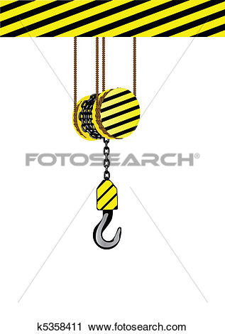Clipart of Vector illustration an iron hook on a chain. k5358411.