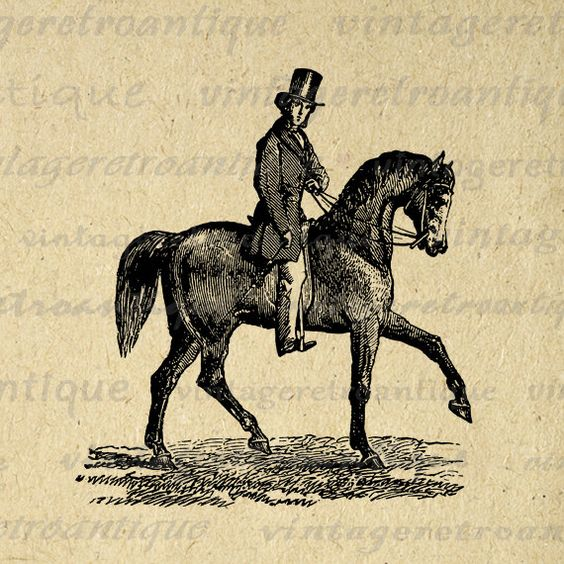 Printable Graphic Antique Horse Rider Download Horseback Man Image.