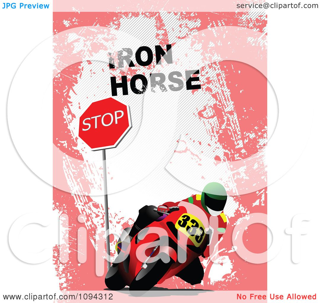 Clipart Person Riding A Motorcycle By A Stop Sign With Iron Horse.