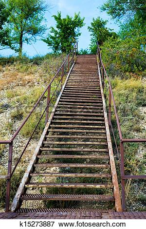 Picture of iron ladder on the mountain k15273887.