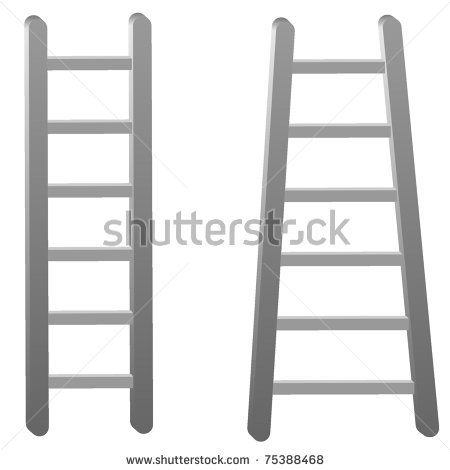 of a two ladders in a vector clip art illustration.