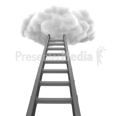Figure Climbing Ladder To Cloud.