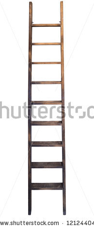 Old Wooden Ladder Against Wall Stock Photo 121244047.