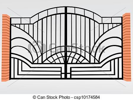 Vector of Iron fence. Brick fence. Big gate. Decorative lattice.
