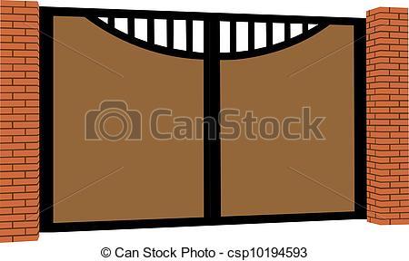 EPS Vectors of Iron fence. Brick fence. Big gate. Decorative.