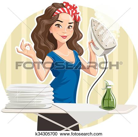 Clipart of Beautiful girl with iron and linen k34305700.