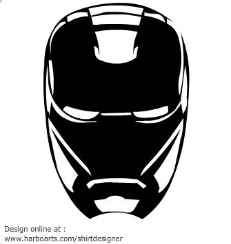 Iron man clipart black and white.