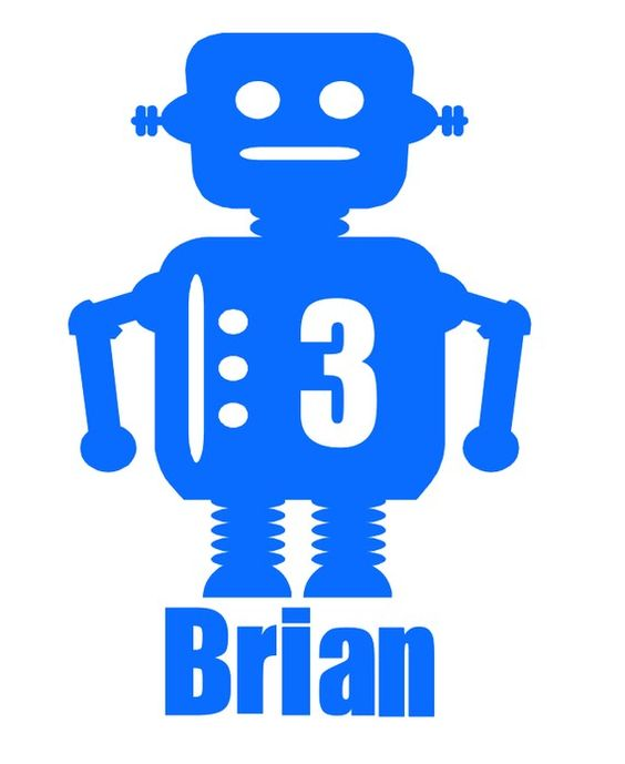 Robot Iron On ~ Personalized.