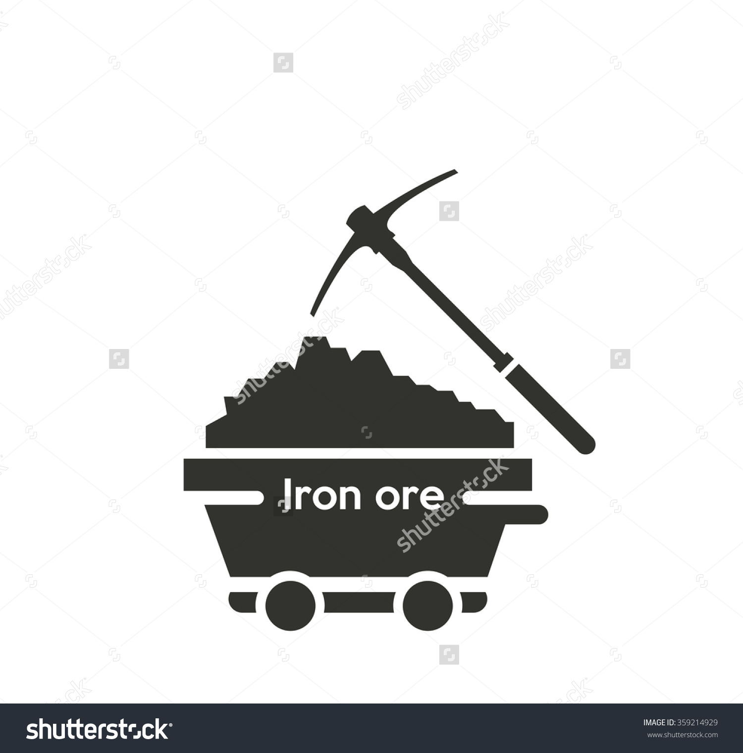 Iron Ore Mine Wagon Icon Stock Vector 359214929.