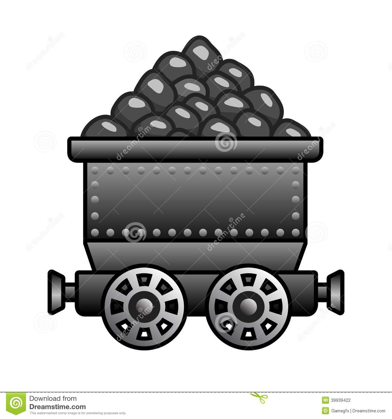 Iron Mine Cart With Coil Stock Vector.