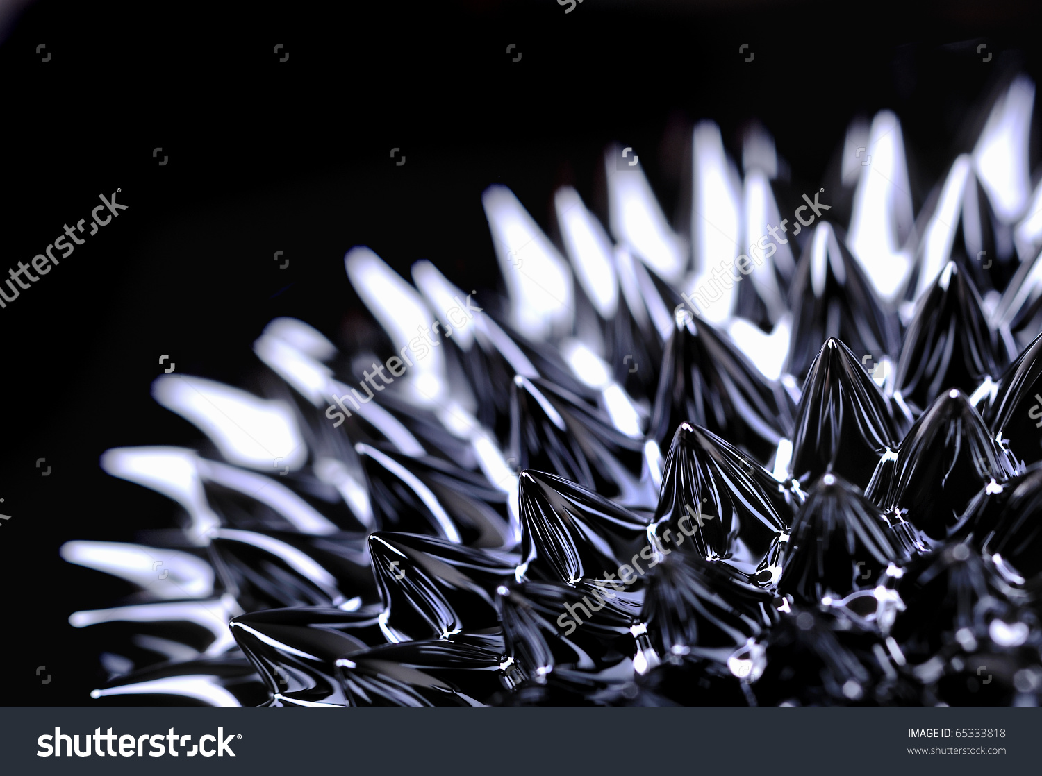 Ferrofluid Nanoscale Mixture Containing Iron Particles Stock Photo.
