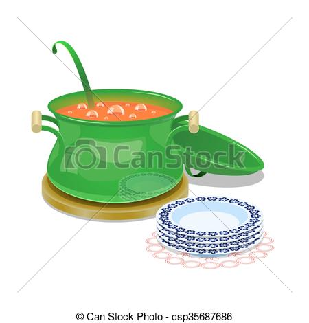 Vector of Iron pan with hot soup and some plates.