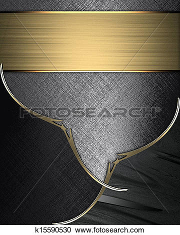 Stock Illustrations of Black plates with gold ornate edges, on.