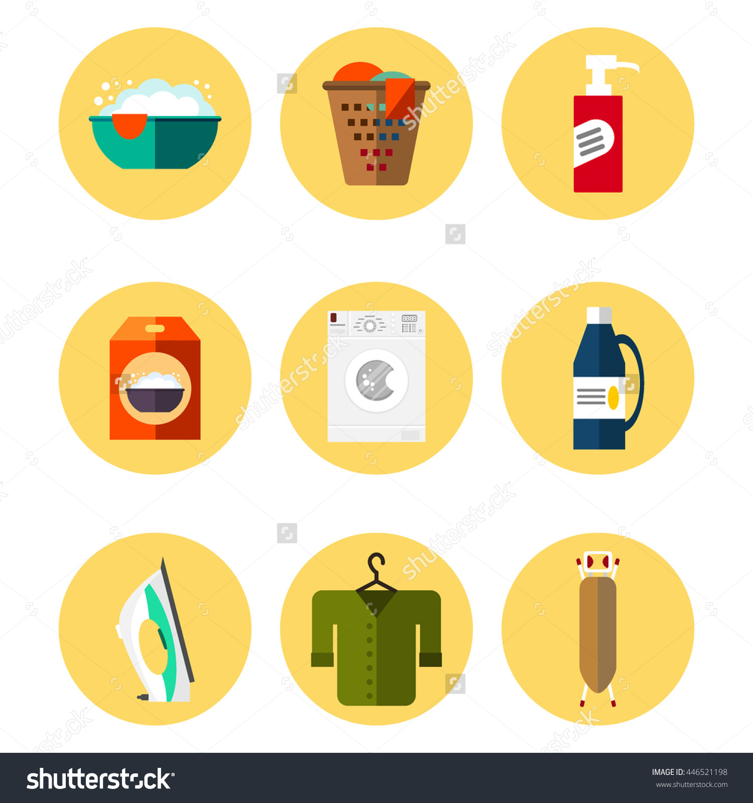 Laundry Icon Collection Flat Style Wash Stock Illustration.